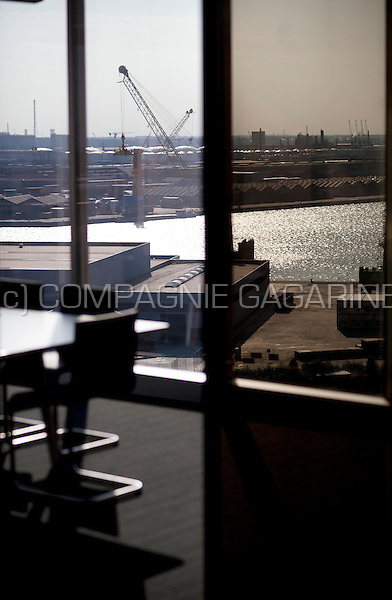 View over the port of Antwerp from inside the Portview tower (Belgium, 29/09/2013)