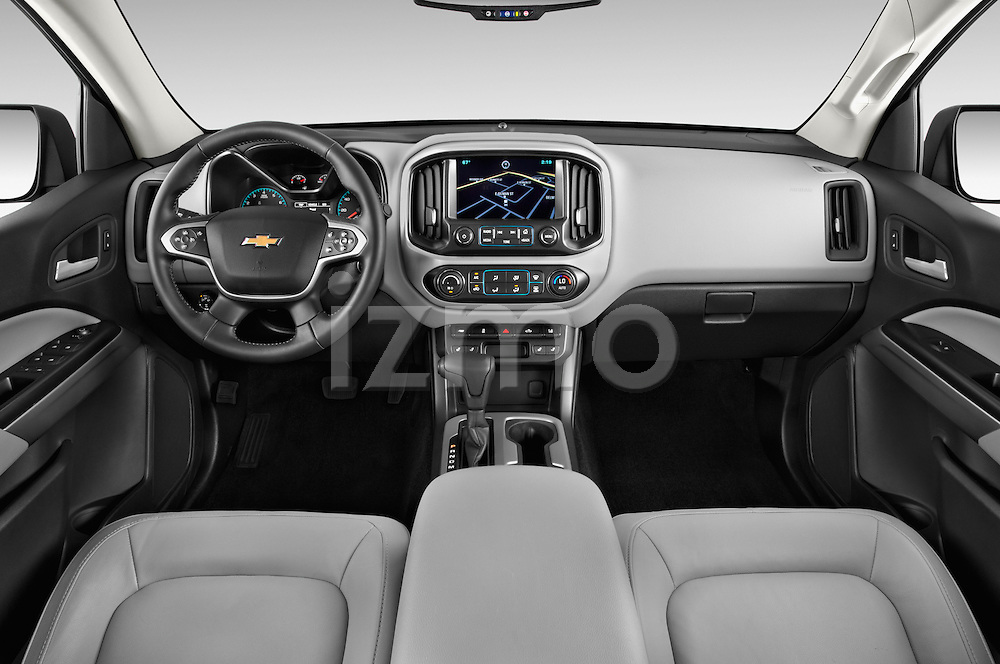 Stock photo of straight dashboard view of a 2017 Chevrolet Colorado LT Crew Cab Long Box 4 Door Truck Dashboard