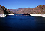 Water storage lake,  Hoover dam on the Colorado River, Nevada and Arizona border, USA