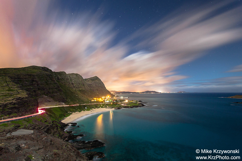 Aerial view of Makapu'u Beach at night, Waimanalo, Oahu