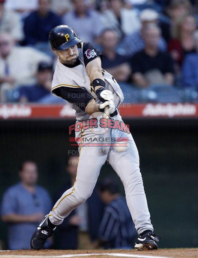 Chad Hermansen of the Pittsburgh Pirates bats during a 2002 MLB season game against the Los Angeles Angels at Angel Stadium, in Anaheim, California. (Larry Goren/Four Seam Images)