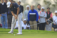 Alexander Levy (FRA) putts on the 17th green during Sunday's Final Round of the 2014 BMW Masters held at Lake Malaren, Shanghai, China. 2nd November 2014.<br /> Picture: Eoin Clarke www.golffile.ie