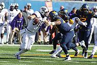 Morgantown, WV - November 10, 2018: TCU Horned Frogs quarterback Michael Collins (10) avoids a sack during the game between TCU and WVU at  Mountaineer Field at Milan Puskar Stadium in Morgantown, WV.  (Photo by Elliott Brown/Media Images International)