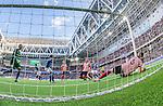 Stockholm 2014-08-31 Fotboll Allsvenskan Djurg&aring;rdens IF - Malm&ouml; FF :  <br /> Djurg&aring;rdens Haris Radetinac g&ouml;r 1-0 i den f&ouml;rsta halvleken bakom Malm&ouml;s m&aring;lvakt Robin Olsen och Markus Halsti<br /> (Foto: Kenta J&ouml;nsson) Nyckelord:  Djurg&aring;rden DIF Tele2 Arena Malm&ouml; MFF remote remotekamera jubel gl&auml;dje lycka glad happy inomhus interi&ouml;r interior