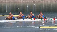 L'equipaggio italiano del 4 di coppia  Luca Agamennoni, Simone Venier, Rossano Galtarossa, Simone Raineri, vincitore della medaglia d'argento.<br /> Durante la gara<br /> Sy Rowing - Canoeing Park<br /> Pechino - Beijing 17/8/2008 Olimpiadi 2008 Olympic Games<br /> Foto Andrea Staccioli Insidefoto