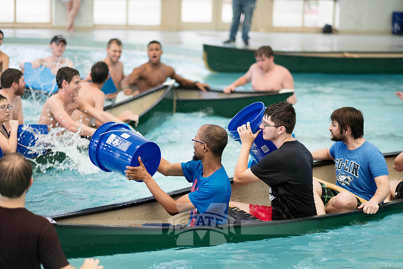 MSU students try to sink the competition during the popular &quot;Battleship&quot; contest at the Joe Frank Sanderson Center. The contest, part of University Recreation's UREC The Day, is one of many Dawg Days events taking place this week as students begin a new academic year.<br />