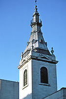 Sir Christopher Wren: St. Nicholas Cole Abbey near St. Paul's, 1671-77. Detail of steeple. Badly bombed in WW II. Photo '05.