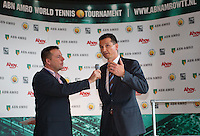 09-01-14, Netherlands, Rotterdam, TC Kralingen, ABNAMROWTT Press-conference, Richard Krajicekexpalains the players attending the tournament, left speaker Edward van Cuilenborg<br /> Photo: Henk Koster