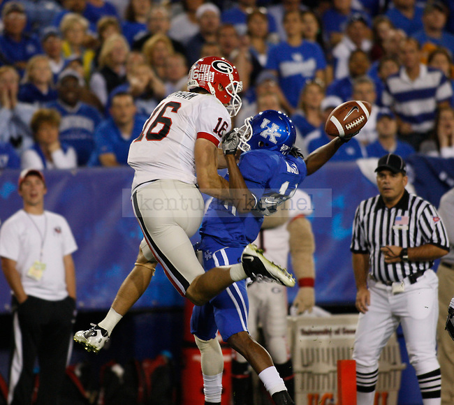 Cornerback Anthony Mosely forces an incomplete pass in the first half against the University of Georgia at Commonwealth Stadium on Saturday, Oct. 23, 2010. Photo by Scott Hannigan | Staff