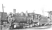 3/4 fireman's-side view of D&amp;RGW #318 near the Montrose engine house.  Another engine is coupled behind.<br /> D&amp;RGW  Montrose, CO  Taken by Blackburn, Ray - 11/6/1936