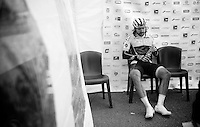 race winner Martin Mortensen (DNK/ONE) in the press tent immediately after the race<br /> <br /> 33th Tro Bro Léon 2016