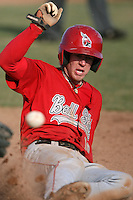 April 5, 2009:  Center fielder Jeremy Hazelbaker (10) of the Ball State Cardinals during a game at Amherst Audubon Field in Buffalo, NY.  Photo by:  Mike Janes/Four Seam Images