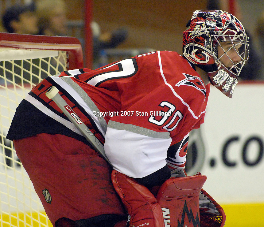 The Carolina Hurricanes' goalie Cam Ward looks up ice during a game with the Philadelphia Flyers Wednesday, Nov. 21, 2007 in Raleigh, NC. The Flyers won 6-3.
