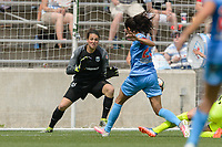 Bridgeview, IL - Sunday June 04, 2017: Haley Kopmeyer, Christen Press during a regular season National Women's Soccer League (NWSL) match between the Chicago Red Stars and the Seattle Reign FC at Toyota Park. The Red Stars won 1-0.