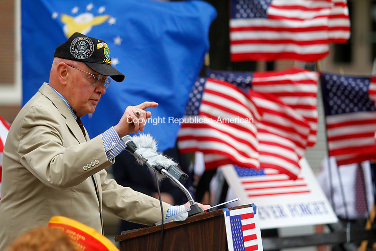 WATERBURY, CT - 29 JULY 2017 - 072917JW02.jpg -- Brig. General Eddi Zyko offers his thoughts on the current state of North Korea during the Korean War Remembrance Day Ceremony Saturday morning on the Waterbury Green.  Jonathan Wilcox Republican-American