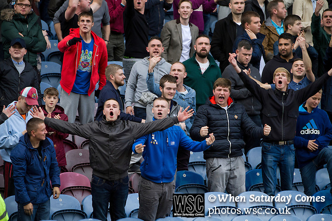 Burnley 1 West Ham United 3, 18/10/2014. Turf Moor, Premier League. Home supporters react with delight to George Boyd's goal as Burnley take on West Ham United in an English Premier League match at Turf Moor. The fixture was won by the visitors by three goals to one watched by 18,936 spectators. The defeat meant that Burnley still had not won a league match since being promoted from the Championship the previous season. Photo by Colin McPherson.