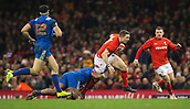 17th March 2018, Principality Stadium, Cardiff, Wales; NatWest Six Nations rugby, Wales versus France; George North of Wales is tackled by Jefferson Poirot of France