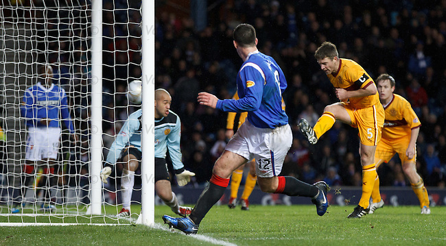 Stephen Craigan blasts in the own goal to make it 3-0 to Rangers