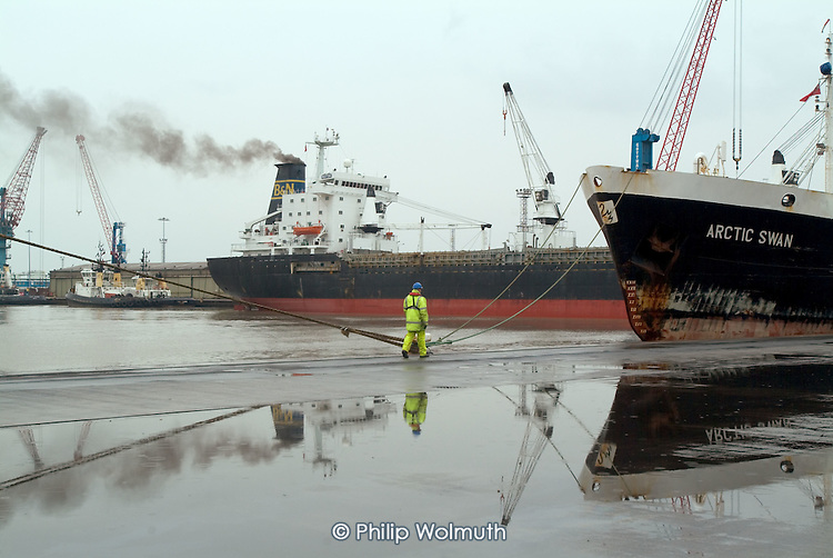 Workers at Immingham Docks, on the Humber estuary.