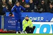 18th March 2018, King Power Stadium, Leicester, England; FA Cup football, quarter final, Leicester City versus Chelsea; Chelsea Manager Antonio Conte gets nervous on the sideline as Leicester press forward