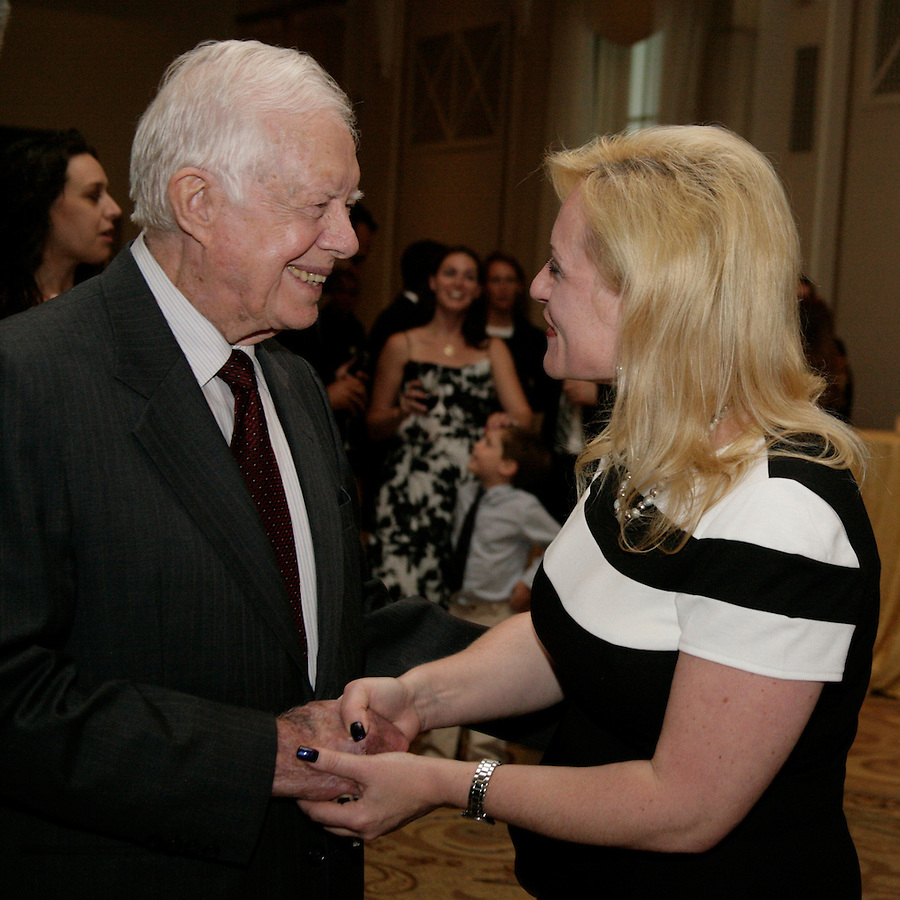 Jimmy Carter met fellow citizens and delivered the keynote speech at the Publicity Club of Chicago's Golden Trumpet Awards. PCC recognized the regions best strategic communications work done in 2013 at the Golden Trumpet Awards dinner at the Palmer House in downtown Chicago on Wednesday, June 4, 2014   [Photo by Karen Kring]