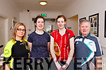 Players attending the Badminton finals in Ballyheigue on Sunday last, L-r, Mary Godley (Ballyheigue), Maire Bradley (Kingdom), Marelle Murphy (Listowel) and John Foley (Aunascual).