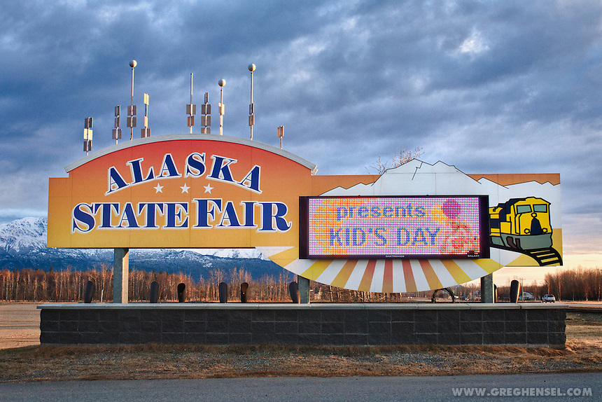 A sign welcomes visitors to the Alaska State Fair in Palmer, Alaska.