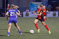 Rochester, NY - Friday May 27, 2016: Western New York Flash forward Lynn Williams (9) is marked by Boston Breakers defender Christen Westphal (21). The Western New York Flash defeated the Boston Breakers 4-0 during a regular season National Women's Soccer League (NWSL) match at Rochester Rhinos Stadium.