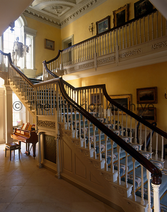 The gracious Staircase Hall is dominated by one of the largest and grandest staircases in Ireland which rises in one long flight.