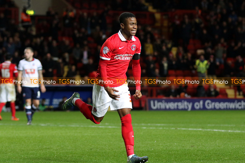 Ademola Lookman celebrates scoring Charlton's second goal during Charlton Athletic vs Bolton Wanderers at The Valley