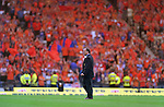 Dick Advocaat walks out to a sea of Orange at Hampden before the Scottish Cup Final of 2000 as the Rangers fans salute the Dutch connection with their club