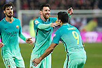 FC Barcelona's forward Leo Messi (L) and- forward Luis Suarez (R) celebrates after scoring a goal during the match of Copa del Rey between Atletico de  Madrid and Futbol Club Barcelona at Vicente Calderon Stadium in Madrid, Spain. February 1st 2017. (ALTERPHOTOS/Rodrigo Jimenez)