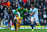 Preston North End's Lukas Nmecha vies for possession with Blackburn Rovers' Amari'i Bell and Joe Rothwell<br /> <br /> Photographer Alex Dodd/CameraSport<br /> <br /> The EFL Sky Bet Championship - Blackburn Rovers v Preston North End - Saturday 9th March 2019 - Ewood Park - Blackburn<br /> <br /> World Copyright © 2019 CameraSport. All rights reserved. 43 Linden Ave. Countesthorpe. Leicester. England. LE8 5PG - Tel: +44 (0) 116 277 4147 - admin@camerasport.com - www.camerasport.com