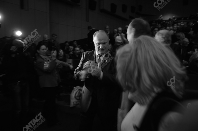 Young Communist party activists greeted Gennady Zyuganov, the Communist Party candidate in the Russian presidential elections, at a rally at a Moscow cinema. Moscow, Russia, February 1, 2008.