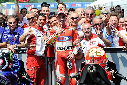 31.05.2015.  Mugello, Italy. MotoGP. Gran Premio d'Italia TIM. Andrea Iannone (Ducati Team)<br /> celebrates his 2nd place in the race