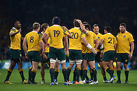 The Australia team celebrate winning a late penalty. Rugby World Cup Pool A match between England and Australia on October 3, 2015 at Twickenham Stadium in London, England. Photo by: Patrick Khachfe / Onside Images
