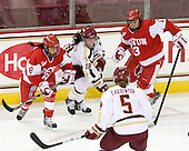 Kayla Tutino (BU - 8), Ashley Motherwell (BC - 18), Kaleigh Fratkin (BU - 13) - The Boston College Eagles tied the visiting Boston University Terriers 5-5 on Saturday, November 3, 2012, at Kelley Rink in Conte Forum in Chestnut Hill, Massachusetts.