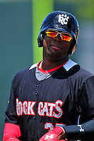 New Britain Rock Cats first baseman Kennys Vargas (35) during a game versus the Portland Sea Dogs at Hadlock Field in Portland, Maine on May 17, 2014. (Ken Babbitt/Four Seam Images)