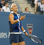 Victoria Azarenka (BLR) defeats Aleksandra Krunic (SRB) 4-6, 6-4, 6-4 at the US Open being played at USTA Billie Jean King National Tennis Center in Flushing, NY on September 1, 2014