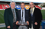 St Johnstone Player of the Year Awards 2014-15.....16.05.15<br /> Jimmy Robertson and Jimmy Smith present the Blues Boys Player of the Year Award to Chris Millar<br /> Picture by Graeme Hart.<br /> Copyright Perthshire Picture Agency<br /> Tel: 01738 623350  Mobile: 07990 594431