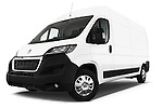 Stock pictures of low aggressive front three quarter view of a 2015 Peugeot BOXER L4H2 4 Door Cargo Van Low Aggressive