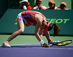March 29 2017:  Martina Hingis (SUI)/Yung-Jan Chan (TPE) defeats Andreja Klepac (SLO)/Maria Jose Martinez Sanchez (ESP) by 6-4, 6-2, at the Miami Open being played at Crandon Park Tennis Center in Miami, Key Biscayne, Florida.