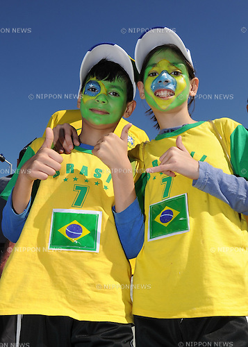 Brazil kids fans (BRA), JUNE 12, 2014 - Football / Soccer : FIFA World Cup Brazil 2014 Group A match between Brazil 3-1 Croatia at Arena de Sao Paulo in Sao Paulo, Brazil. (Photo by SONG Seak-In/AFLO)