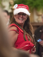 Unidentified woman wearing a &quot;Make America Great Again&quot; hat prior to the arrival of US President Donald J. Trump who will make remarks at the Congressional Medal of Honor Society Reception in the East Room of the White House in Washington, DC on Wednesday, September 12, 2018.<br /> CAP/MPI/RS<br /> &copy;RS/MPI/Capital Pictures