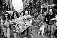Milano: manifestazione per raccolta di firme contro la violenza sulle donne. 1 Mar 1980.<br /> Milan: demonstration to collect signatures against violence against women. March 1st, 1980.