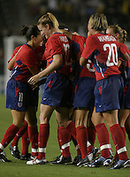 USA celebrates goal, USWNT vs. Costa Rica, September 1, 2003.