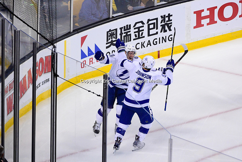 May 2, 2018: Tampa Bay Lightning left wing Ondrej Palat (18) celebrates a goal with center Tyler Johnson (9) during game three of the second round of the National Hockey League's Eastern Conference Stanley Cup playoffs between the Tampa Bay Lightning and the Boston Bruins held at TD Garden, in Boston, Mass. Tampa Bay defeats Boston 4-1. Eric Canha/CSM