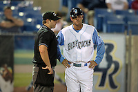Wilmington Blue Rocks manager Brian Rupp #41 gets an explanation of a call from home plate umpire Kiff Kinkade during a game against the Lynchburg Hillcats at Frawley Stadium on May 3, 2011 in Wilmington, Delaware.  Lynchburg defeated Wilmington by the score of 11-1.  Photo By Mike Janes/Four Seam Images