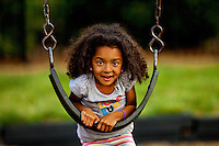 Lifestyle photography of Berewick, a 1,000-acre neighborhood development in Charlotte, NC (Steel Creek Area). Berewick was developed by Pappas Properties. Photo shows the community's playground area.
