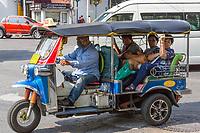 Bangkok, Thailand.  Three-wheeled Tuk-Tuk, Local Taxi Transport.